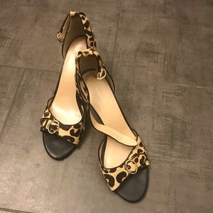 PRE OWNED REAL PONY HAIR OPEN TOE SANDALS 8.5
